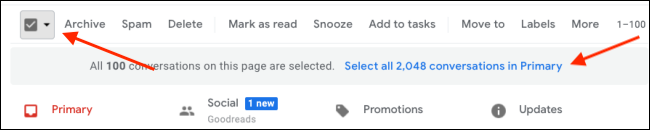 Select All email in Gmail to mark it as read
