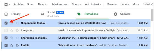 In Gmail, select multiple emails to mark as read