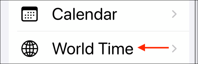 "Tap ""World Time."""
