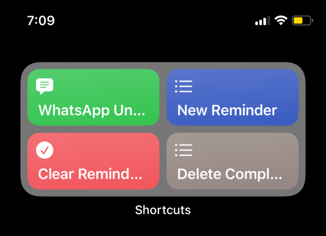 Shortcuts Widget Showing A Folder
