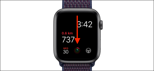Swipe down to reveal the message center on the Apple Watch
