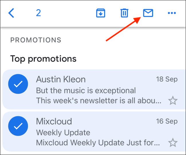 Tap the closed envelope icon to mark emails as unread