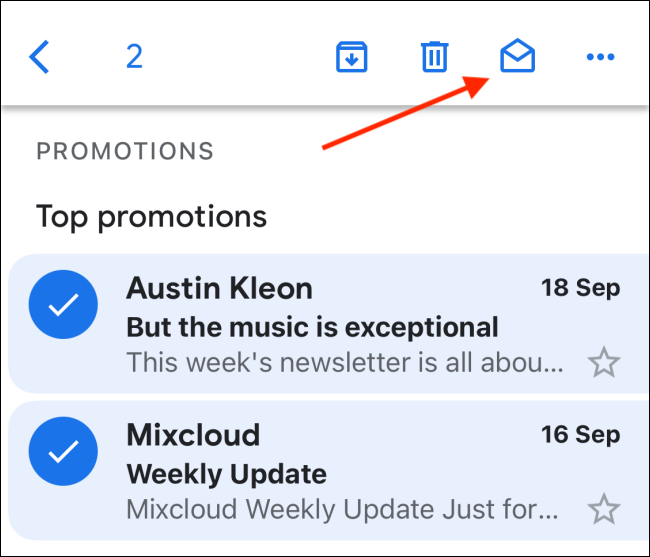 Tap The Open Envelope Icon To Mark Emails as Read