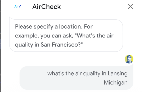 google assistant aircheck action