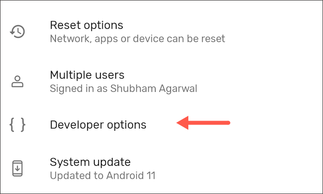 Enter developer options on Android