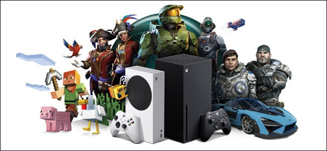 Xbox consoles surrounded by characters from Xbox games.