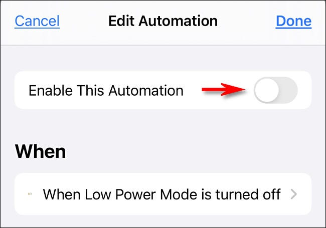 "Tap ""Enable This Automation"" to turn the switch off."