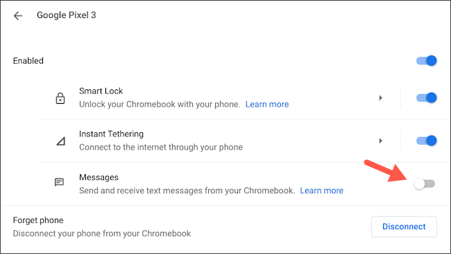Disconnect Android messages from Chromebook