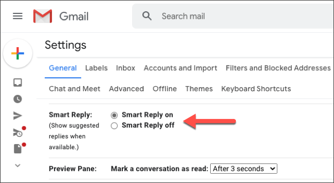 "Click the radio button next to ""Smart Reply On."""