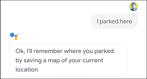Google Assistant confirms that it remembers where a parking space is on Android.