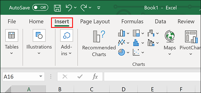 """Clicking """"Insert"""" on the Excel ribbon."""