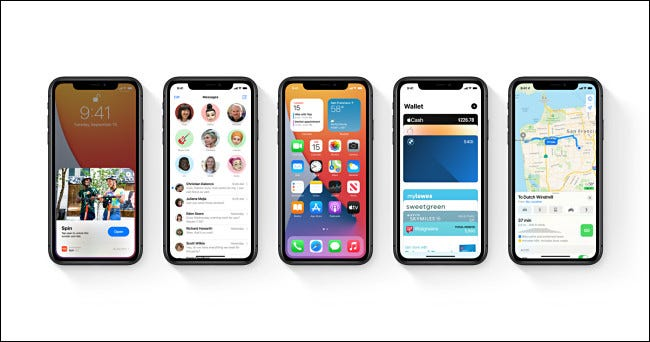 Five Apple iPhones running iOS 14