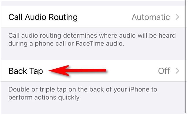 "In Accessibility Touch settings on iPhone, select ""Back Tap."""