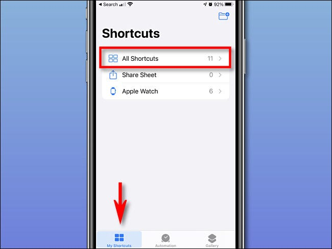 "Tap ""My Shorcuts"" and ""All Shortcuts"" on iPhone."