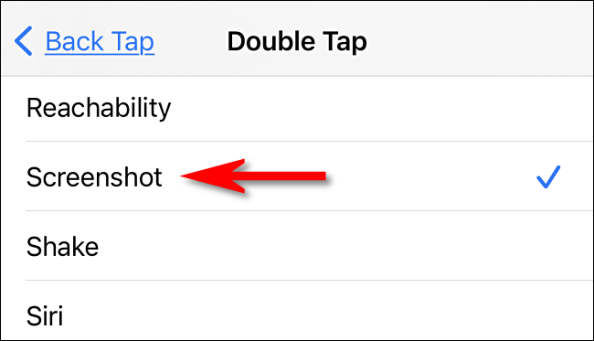 "In Back Tap settings, select ""Screenshot"" on iPhone."