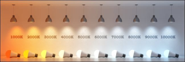 A series of light bulbs showing light temperatures from 1000-10,000 Kelvins.