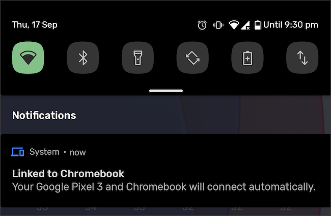 Android phone and Chromebook linked notification