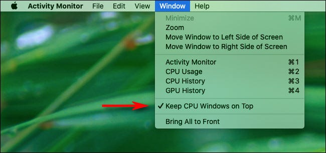 """Click """"Window"""" in the menu bar, and then click """"Keep CPU Windows on Top."""""""
