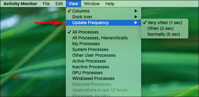"""Click """"View,"""" """"Update Frequency,"""" and then select how often you want the panel to update."""