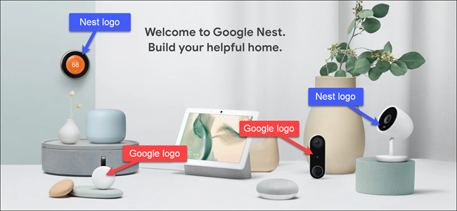 Google and Nest products with callouts labeling which have Nest logos, and which have Google's.