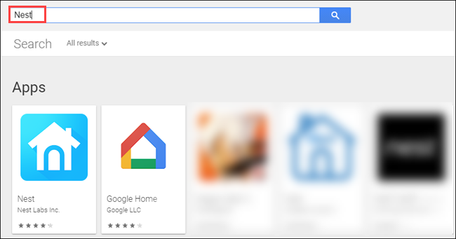 "The ""Nest"" and ""Google Home"" apps in the Google Store."