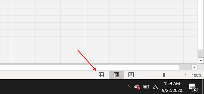 Click the Normal button in Excel