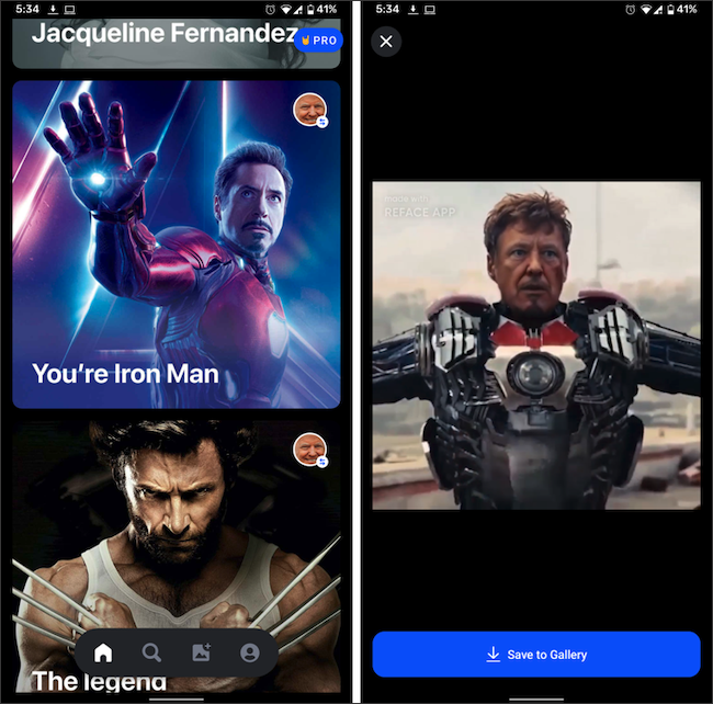 Three GIFs with movie characters in the Reface app.