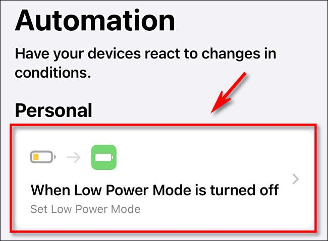 Tap the automation in the list to select it.