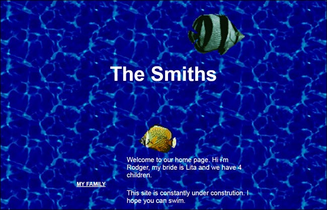 Screenshot of a personal GeoCities website created by The Smiths.