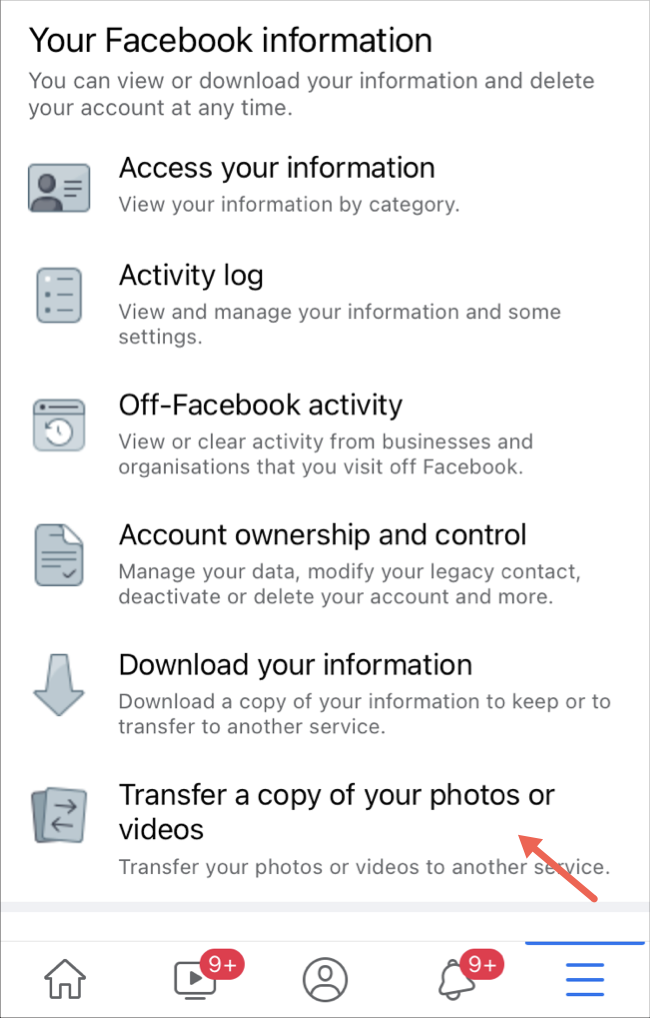Select transfer photos and videos option on Facebook app