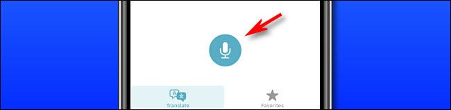 In Apple Translate on iPhone, press the microphone button to speak a phrase for translation.