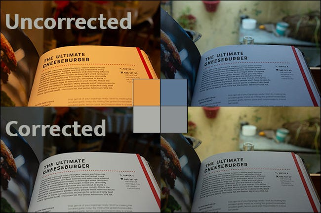 Four pictures on the same page in a book showing different levels of white balance.