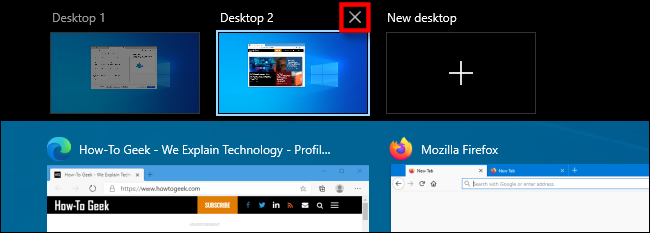 "Select the ""X"" above a virtual desktop thumbnail to close it."