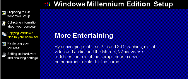 The Windows Millennium Edition setup process.