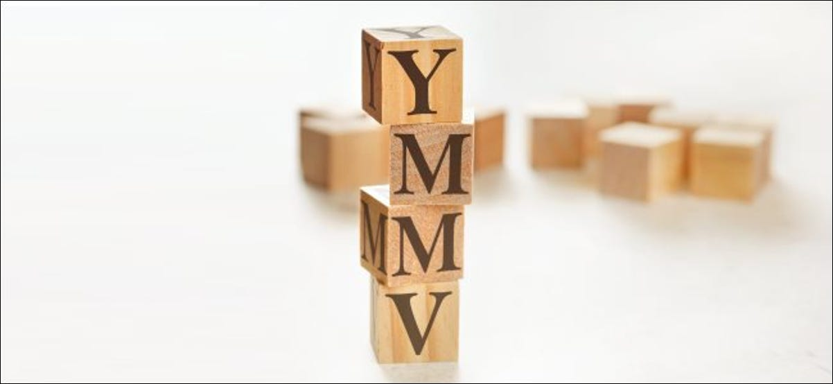 """Block letters spelling out """"YMMV."""""""
