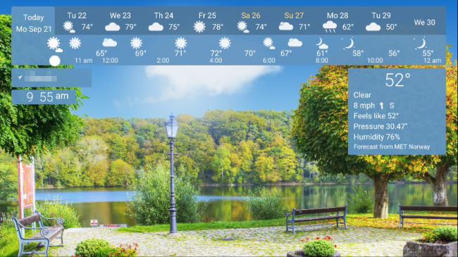 Lo screen saver di YoWindow su una TV Android.