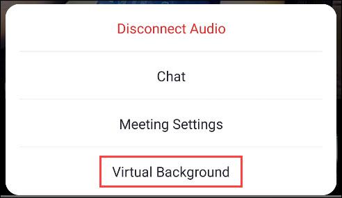 select virtual background