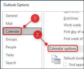 "Outlook's ""Calendar options"" settings."
