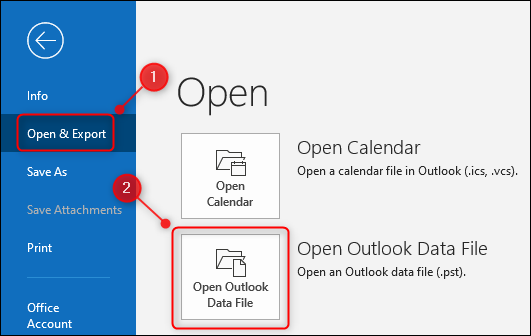 "Outlook's ""Open Outlook Data File"" option."