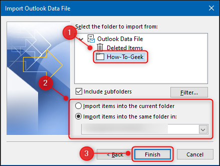 The Outlook location into which the files will be imported.
