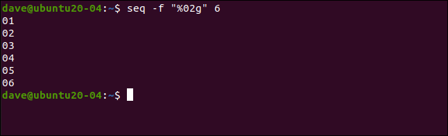 "seq -f ""%02g"" 6 in a terminal window."