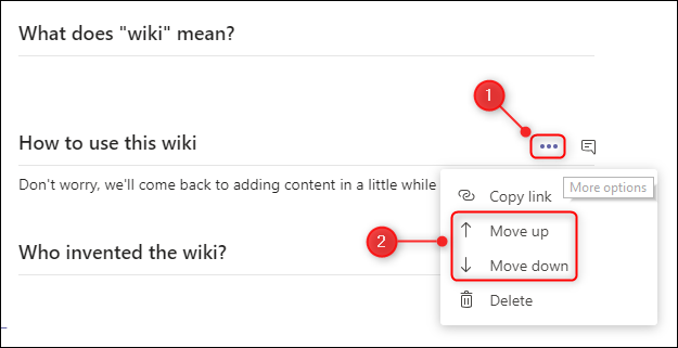 """The """"Move up"""" and """"Move down"""" section menu options."""