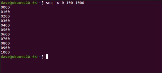 seq -w 0 100 1000 in a terminal window.