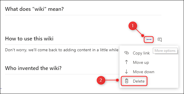 "The ""Delete"" section menu option."