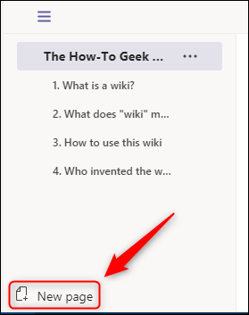 """The """"New page"""" option."""
