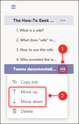 """The """"Move up"""" and """"Move down"""" page menu options."""