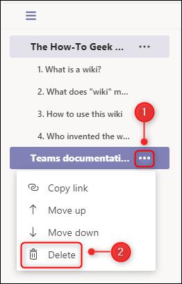 "The ""Delete"" page menu option."