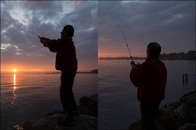 Two images of a man fishing at sunset shot at different focal lengths, but with the same amount of light.