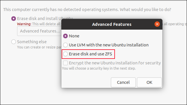 """The """"Advanced Features"""" dialog box."""