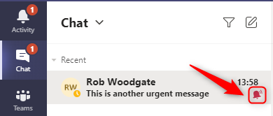 """A chat showing the """"Urgent"""" icon."""